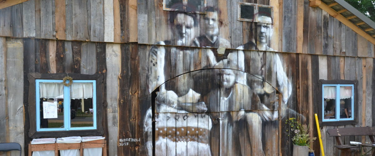 "Street art Arkadiusz Andrejkow ""Cichy Memoriał"" Gorajec 2017 r."