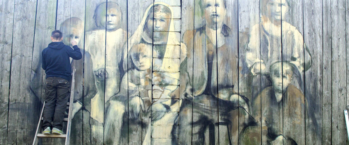"Street art Arkadiusz Andrejkow ""Cichy Memoriał"" Komańcza 2017"