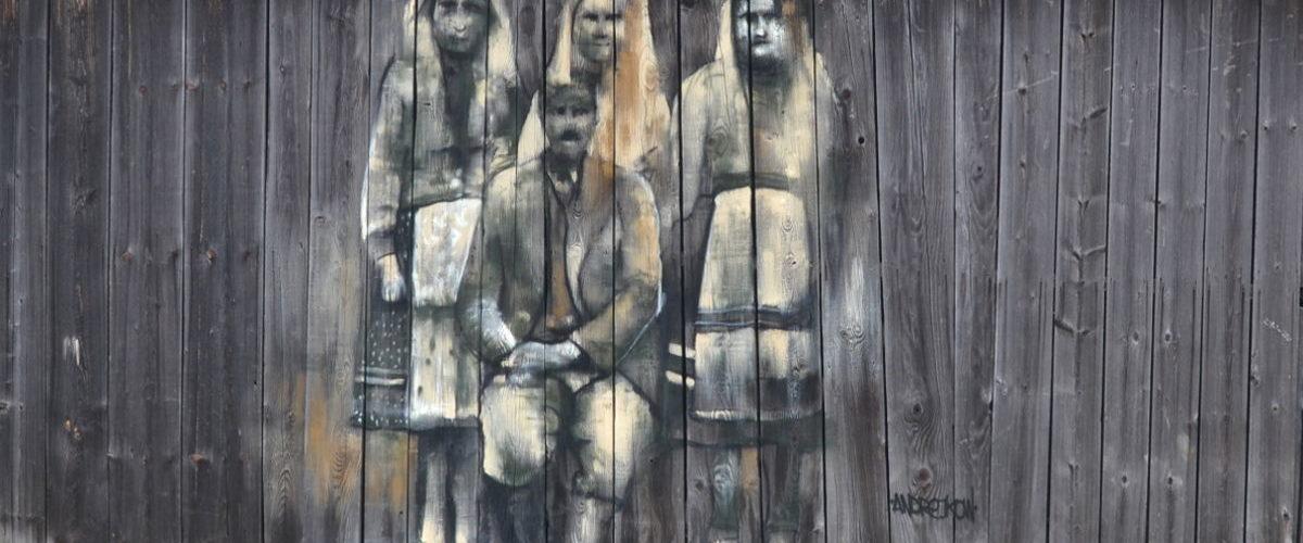"Street art Arkadiusz Andrejkow ""Cichy Memoriał"" Komańcza1 2017"