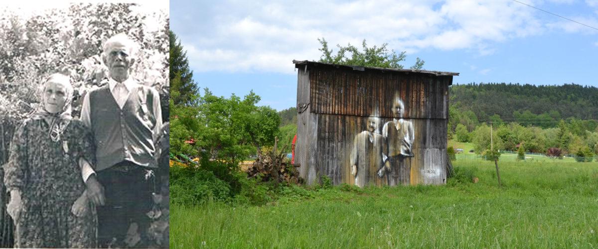 """Street art Arkadiusz Andrejkow """"Cichy Memoriał"""" Załuż 2017"""