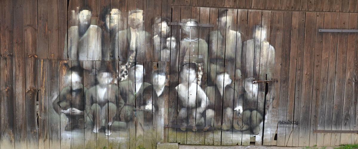 "Street art Arkadiusz Andrejkow ""Cichy Memoriał"" Orelec 2017"